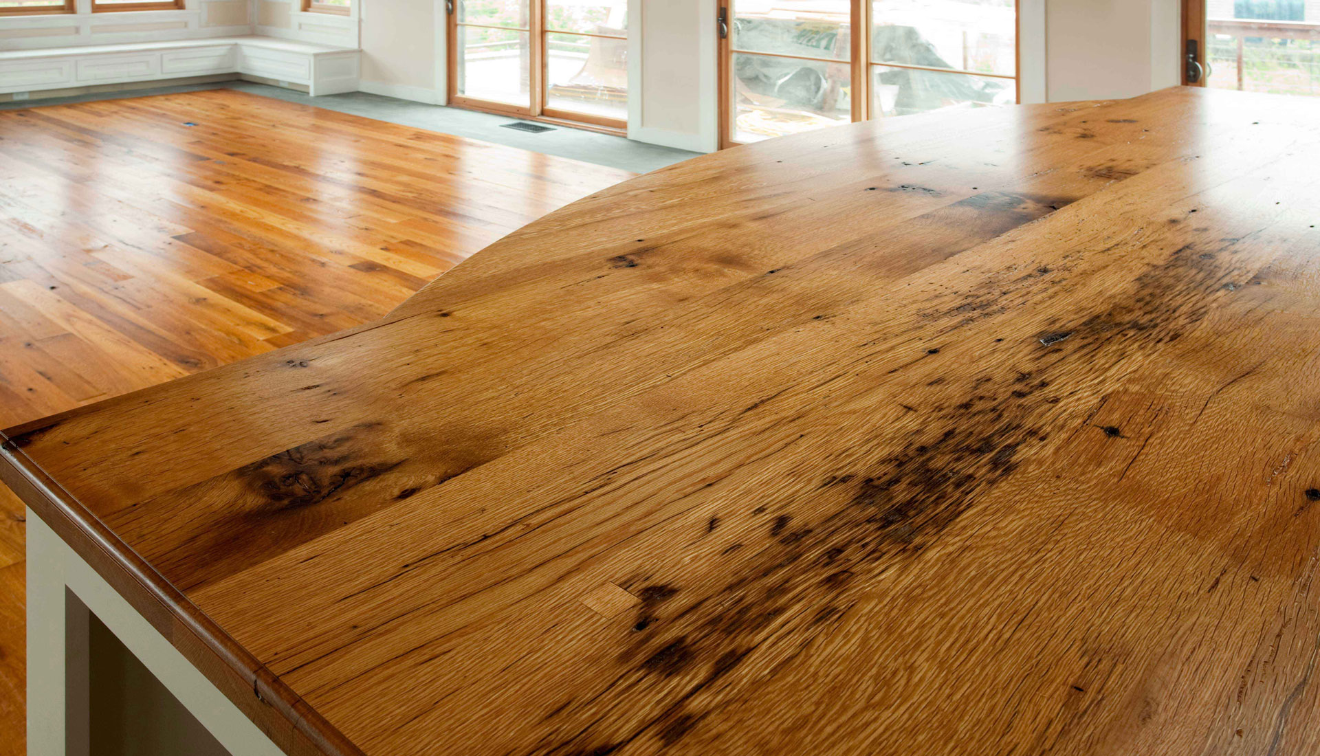 antique wood flooring and custom millwork